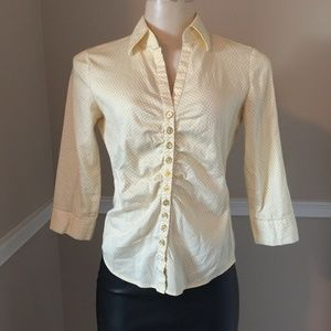 Yellow & White Ruched Front Top